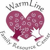 Pink heart held by two hands and words Warmline Family Resource Center